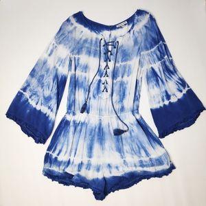 American Eagle Blue Tye Dye Bell Sleeve Romper M